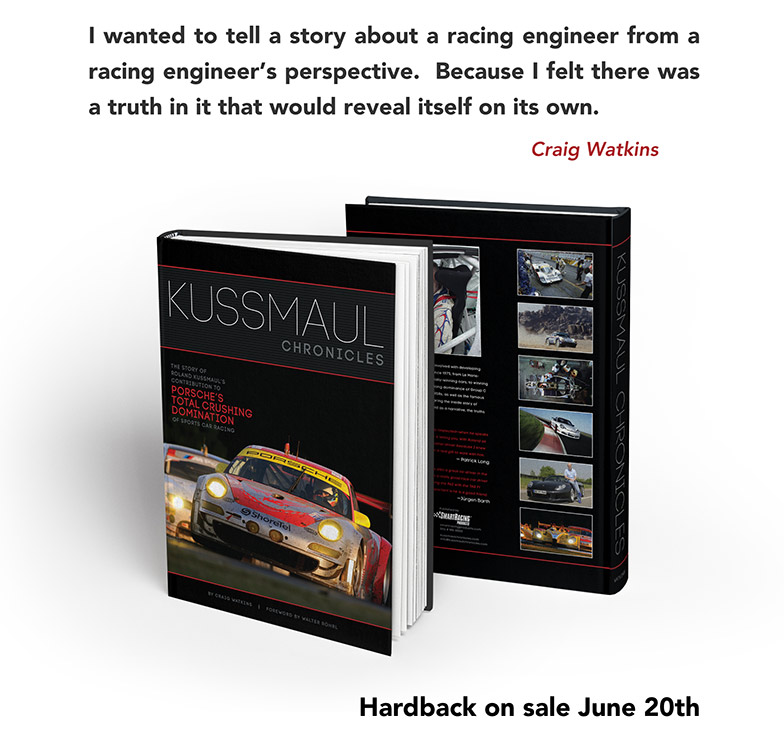 Craig Watkins quote with photo of book: I wanted to tell a story about a racing engineer from a racing engineer's perspective.  Because I felt there was a truth in it that would reveal itself on its own.